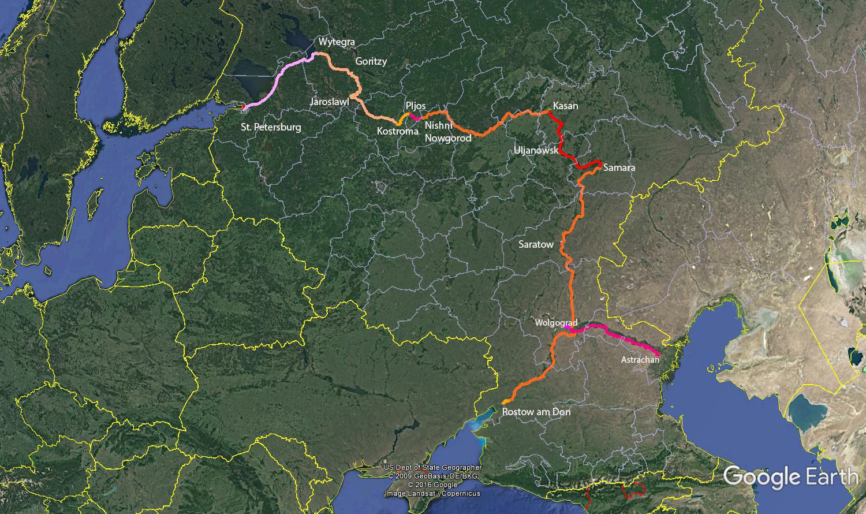 Karte der Don- Wolga Kreuzfahrt durch Russland