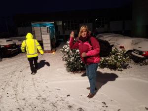 Abschied von Frankfurt mit Schnee