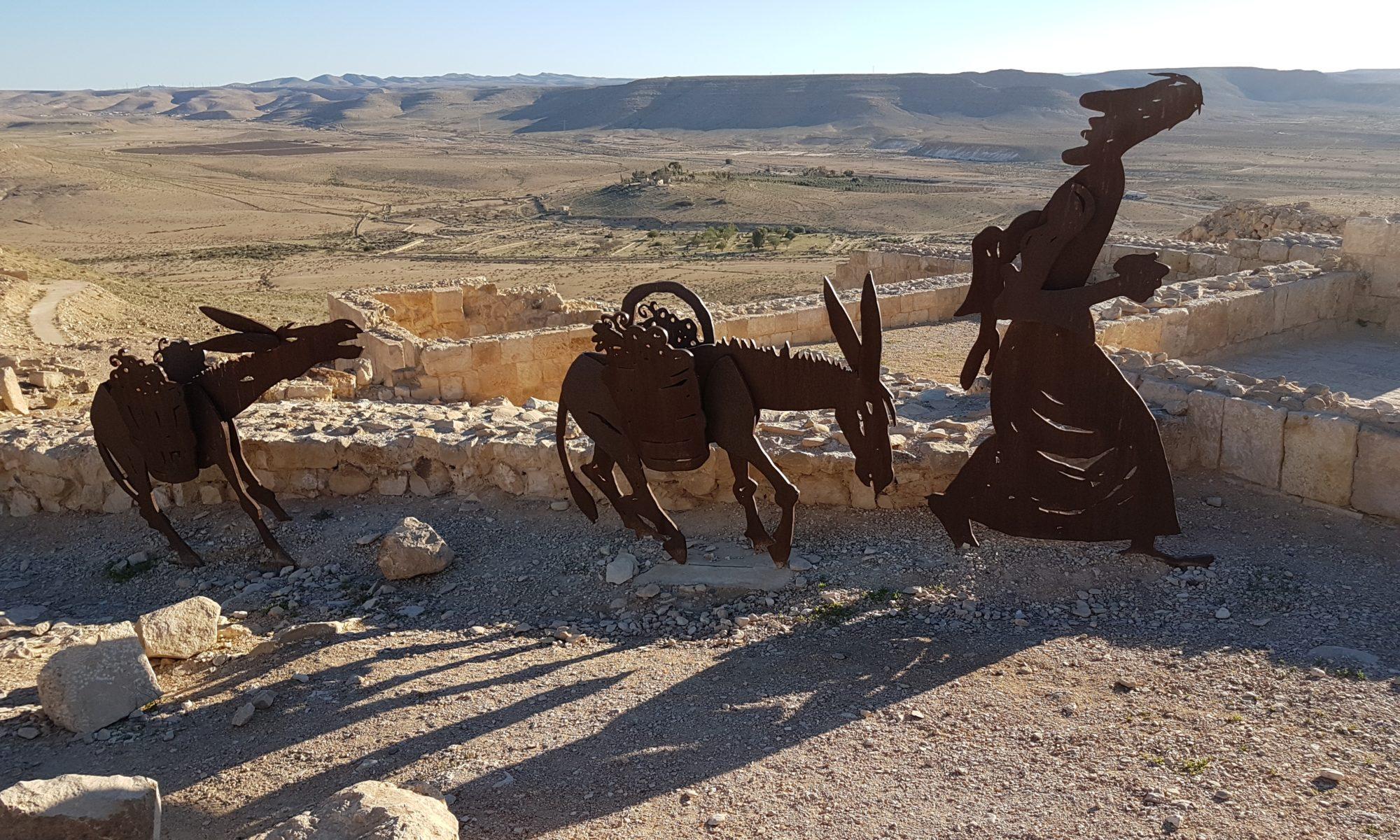 Figuren in Avdat in der Negev Wüste Israel