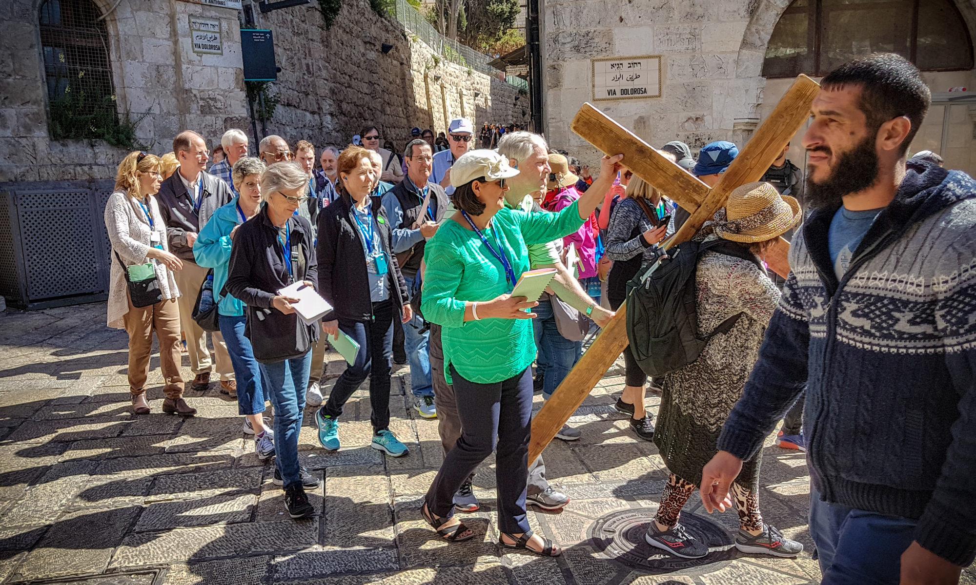 Israel Pilger auf dem Leidensweg Jesus in Jerusalem